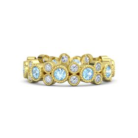 14K Yellow Gold Ring with Blue Topaz & Diamond