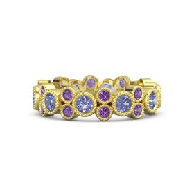 14K Yellow Gold Ring with Tanzanite & Amethyst