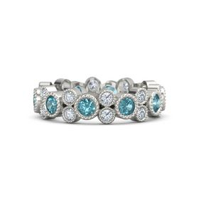 18K White Gold Ring with London Blue Topaz & Diamond