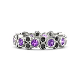 18K White Gold Ring with Amethyst and Black Diamond