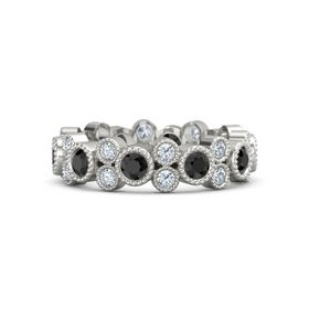 18K White Gold Ring with Black Diamond & Diamond