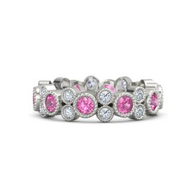 18K White Gold Ring with Pink Tourmaline & Diamond