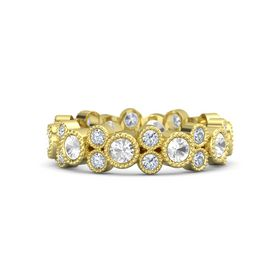 18K Yellow Gold Ring with Rock Crystal & Diamond