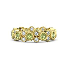 18K Yellow Gold Ring with Peridot and Diamond