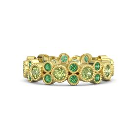 18K Yellow Gold Ring with Peridot and Emerald