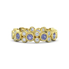 18K Yellow Gold Ring with Tanzanite & Diamond