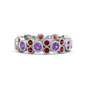 Palladium Ring with Amethyst and Ruby