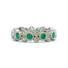 Palladium Ring with Emerald and Peridot