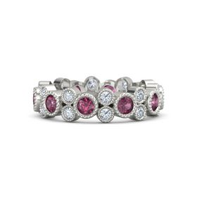 Palladium Ring with Rhodolite Garnet & Diamond