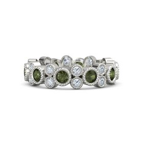 Palladium Ring with Green Tourmaline and Diamond