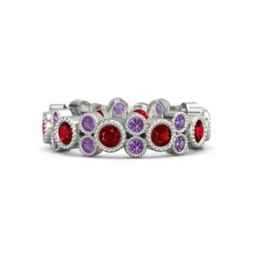 Palladium Ring with Ruby & Amethyst