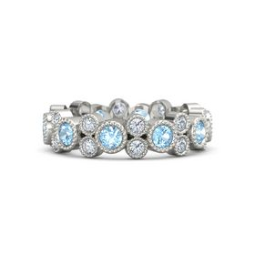 Palladium Ring with Blue Topaz & Diamond