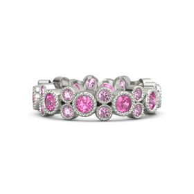 Palladium Ring with Pink Tourmaline & Pink Sapphire