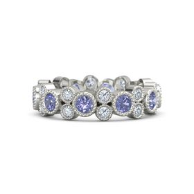Palladium Ring with Tanzanite & Diamond