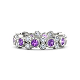 Platinum Ring with Amethyst & Diamond