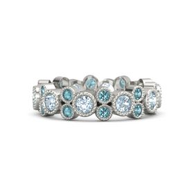 Platinum Ring with Aquamarine & London Blue Topaz