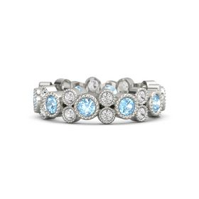 Platinum Ring with Blue Topaz and White Sapphire