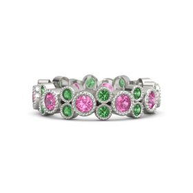 Platinum Ring with Pink Tourmaline & Emerald