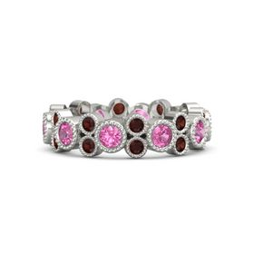 Platinum Ring with Pink Tourmaline & Red Garnet