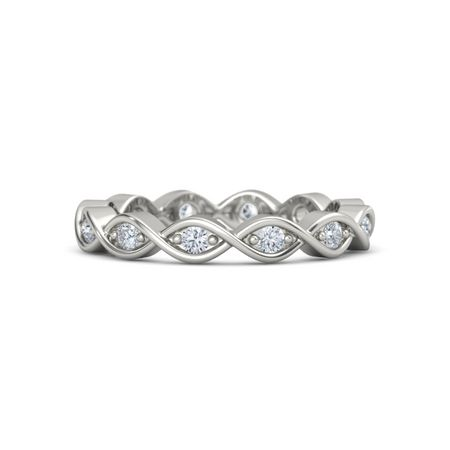 14K White Gold Ring with Diamond Twist Eternity Band