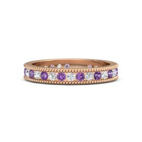 14K Rose Gold Ring with Amethyst & White Sapphire