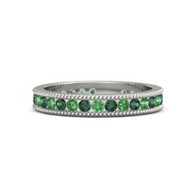 14K White Gold Ring with Alexandrite & Emerald