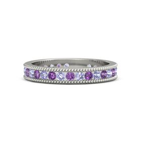 14K White Gold Ring with Tanzanite and Amethyst