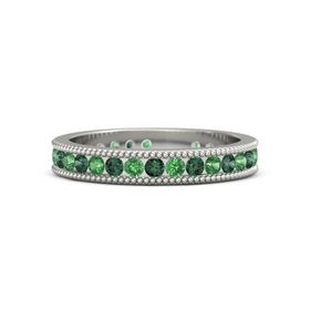 18K White Gold Ring with Emerald and Alexandrite
