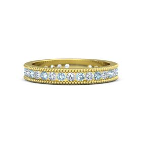 18K Yellow Gold Ring with Aquamarine & Diamond