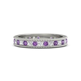Platinum Ring with Amethyst & White Sapphire