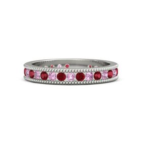 Platinum Ring with Ruby & Pink Tourmaline