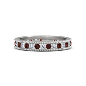 Sterling Silver Ring with Red Garnet and Diamond