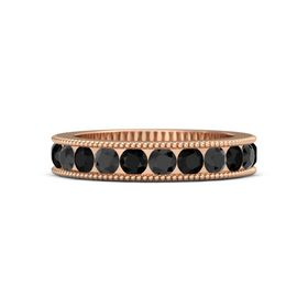 14K Rose Gold Ring with Black Diamond and Black Onyx