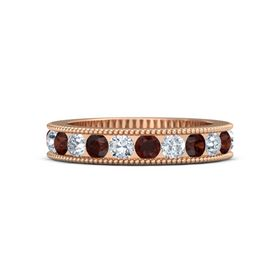 14K Rose Gold Ring with Red Garnet & Diamond