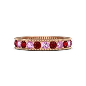 14K Rose Gold Ring with Pink Sapphire and Ruby