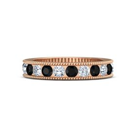 14K Rose Gold Ring with Black Onyx and Diamond