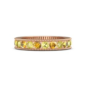 14K Rose Gold Ring with Yellow Sapphire and Citrine