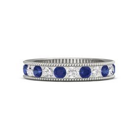 14K White Gold Ring with White Sapphire & Sapphire