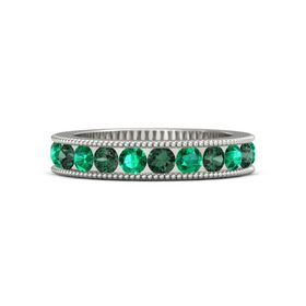 14K White Gold Ring with Alexandrite and Emerald