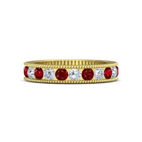 14K Yellow Gold Ring with Diamond and Ruby