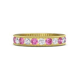 14K Yellow Gold Ring with White Sapphire and Pink Tourmaline
