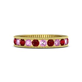 14K Yellow Gold Ring with Pink Sapphire and Ruby
