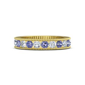 14K Yellow Gold Ring with Tanzanite and Diamond