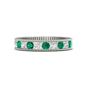 18K White Gold Ring with Emerald and White Sapphire