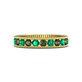 18K Yellow Gold Ring with Green Tourmaline and Emerald