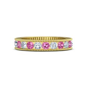 18K Yellow Gold Ring with Pink Tourmaline and Diamond