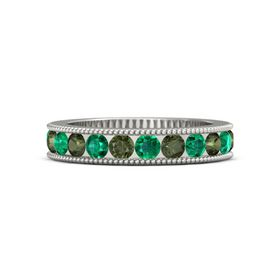 Palladium Ring with Emerald and Green Tourmaline