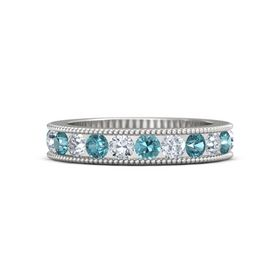 Sterling Silver Ring with London Blue Topaz & Diamond