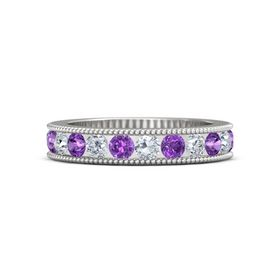 Sterling Silver Ring with Diamond & Amethyst