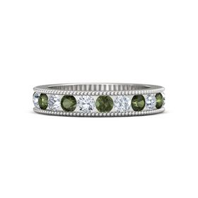 Sterling Silver Ring with Green Tourmaline & Diamond